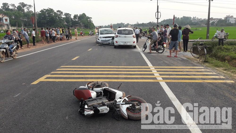 Bắc Giang: Ba phương tiện va chạm làm một người bị thương