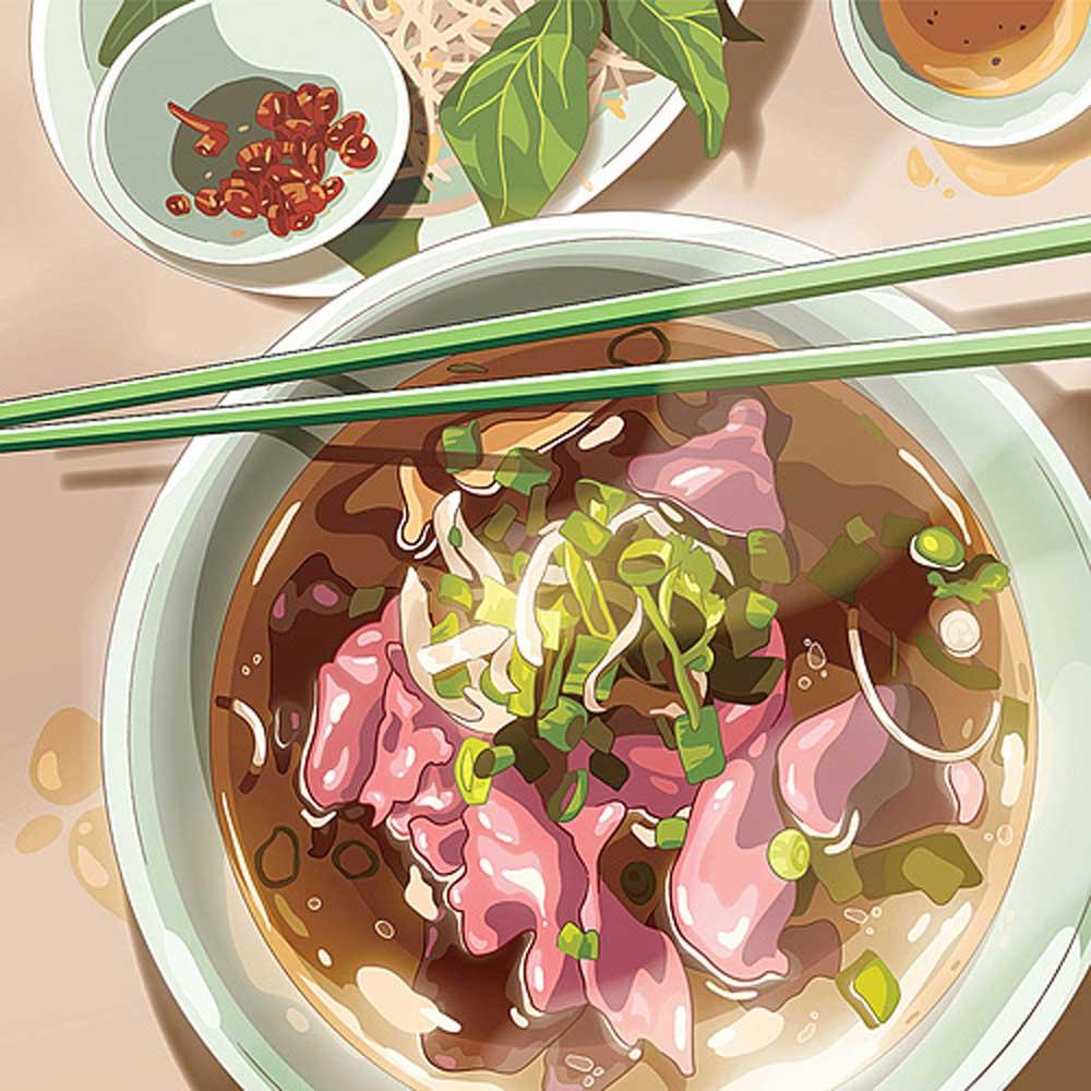 Banh mi, pho, add flavor, Australian art project, popular Vietnamese staples, online project, favorite Asian food memories
