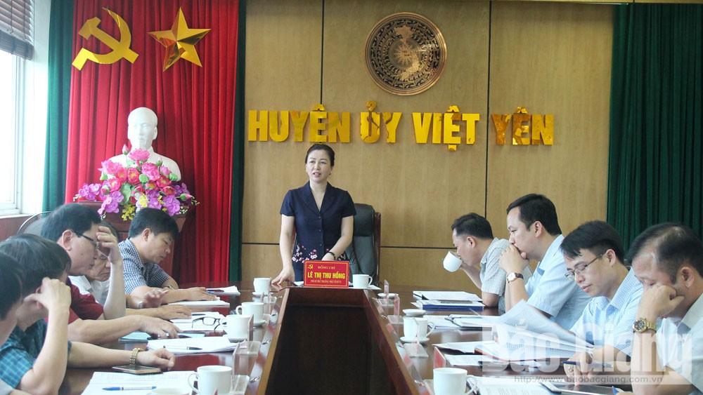 Làm việc tại Việt Yên, Phó Bí thư Thường trực Tỉnh ủy Lê Thị Thu Hồng chỉ đạo: Xây dựng phương án nhân sự đại hội bảo đảm cơ cấu, tỷ lệ, tiêu chuẩn
