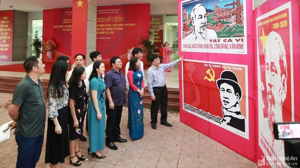Localities nationwide, Uncle Ho's birthday, 130th anniversary, propaganda painting exhibition, outstanding achievements, national liberation