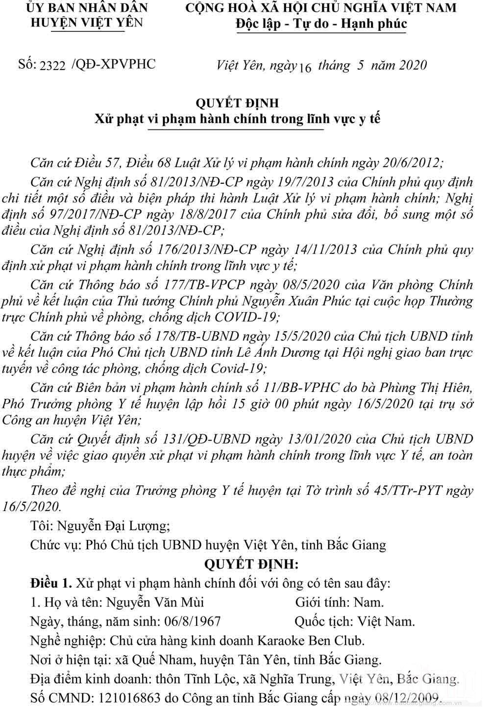 Bắc giang, covid-19, xử phạt, vi phạm, karaoke, Việt Yên