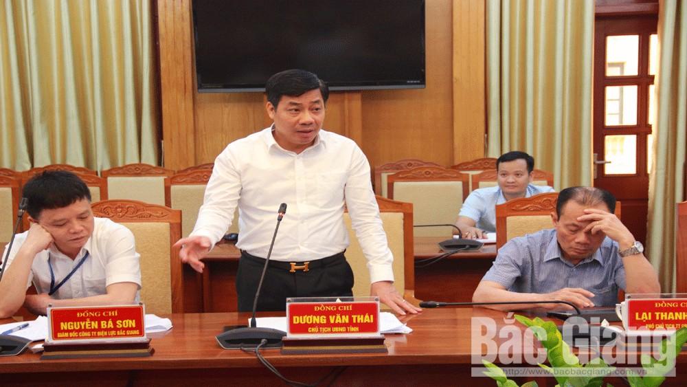 Chủ tịch UBND tỉnh Dương Văn Thái, cung ứng điện, Tỉnh Bắc Giang, Tổng Công ty Điện lực miền Bắc