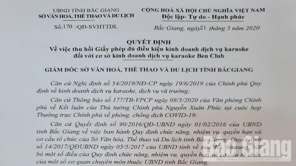 Sở VHTTDL, thu hồi giấy phép cơ sở  kinh doanh, dịch vụ karaoke Ben Club