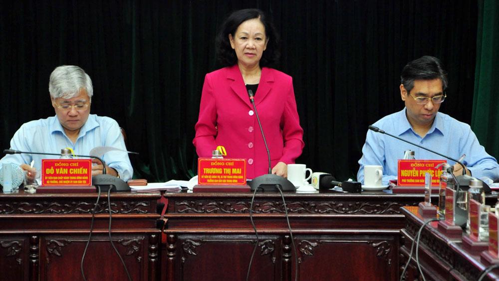 Hội nghị, triển khai các văn bản, Đảng bộ, đảng ủy, công tác dân vận, Đồng bằng sông Hồng, Ủy viên Bộ Chính trị, Bí thư Trung ương Đảng, Trưởng ban Dân vận Trung ương, Trương Thị Mai