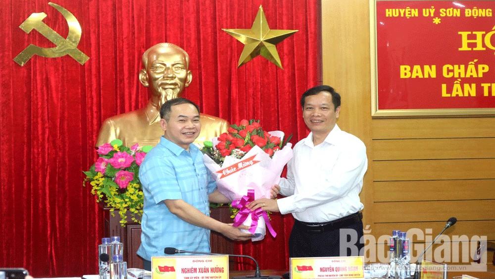 Đồng chí Đỗ Văn Cầm được bầu giữ chức Phó Bí thư Thường trực Huyện uỷ Sơn Động