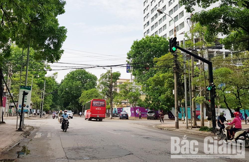 TP Bắc Giang, dừng treo băng rôn, khung hoa trang trí vượt đường, Bắc Giang