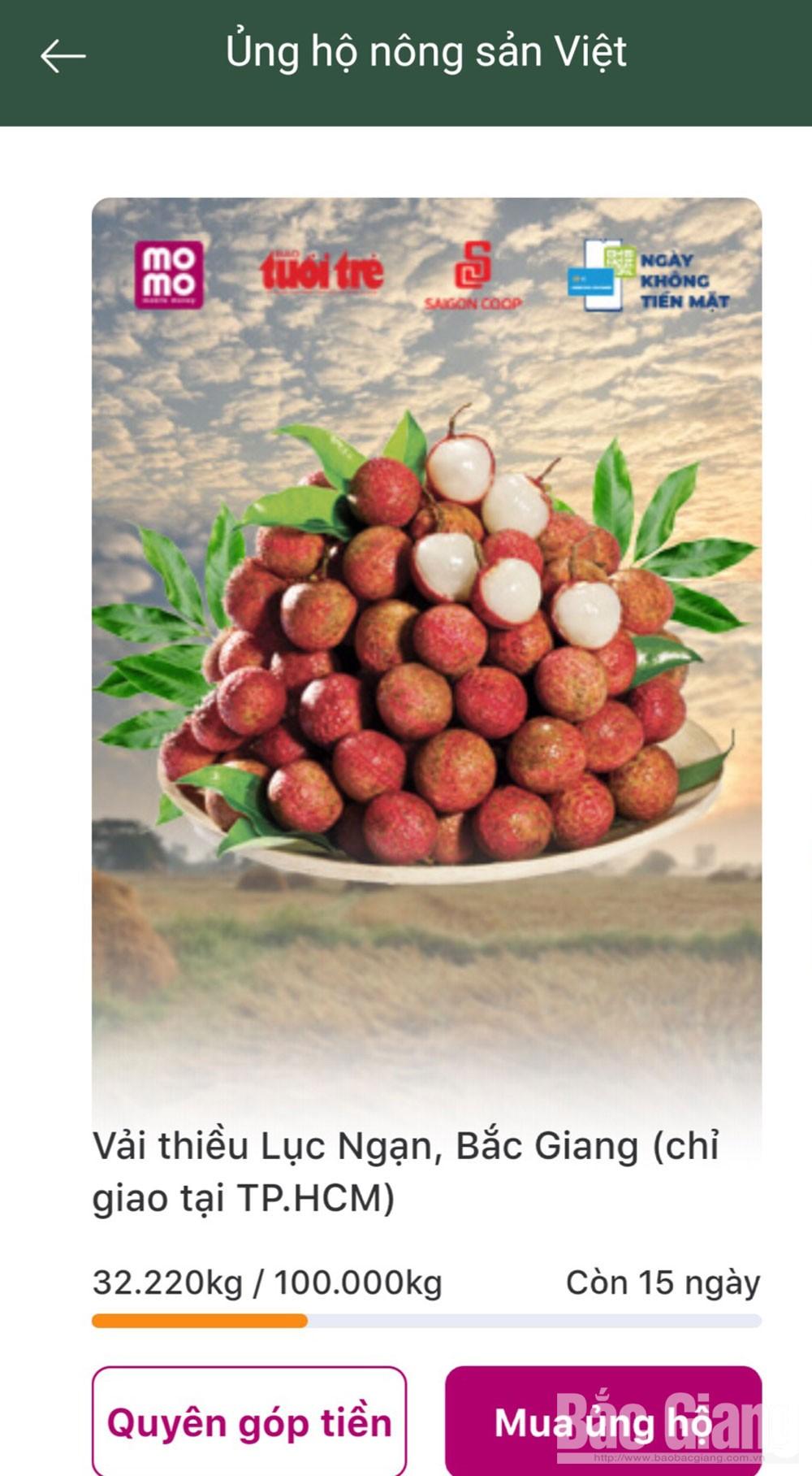 Siêu thị Co.op Mart Bắc Giang bán vải thiều Lục Ngạn trên hệ thống online.