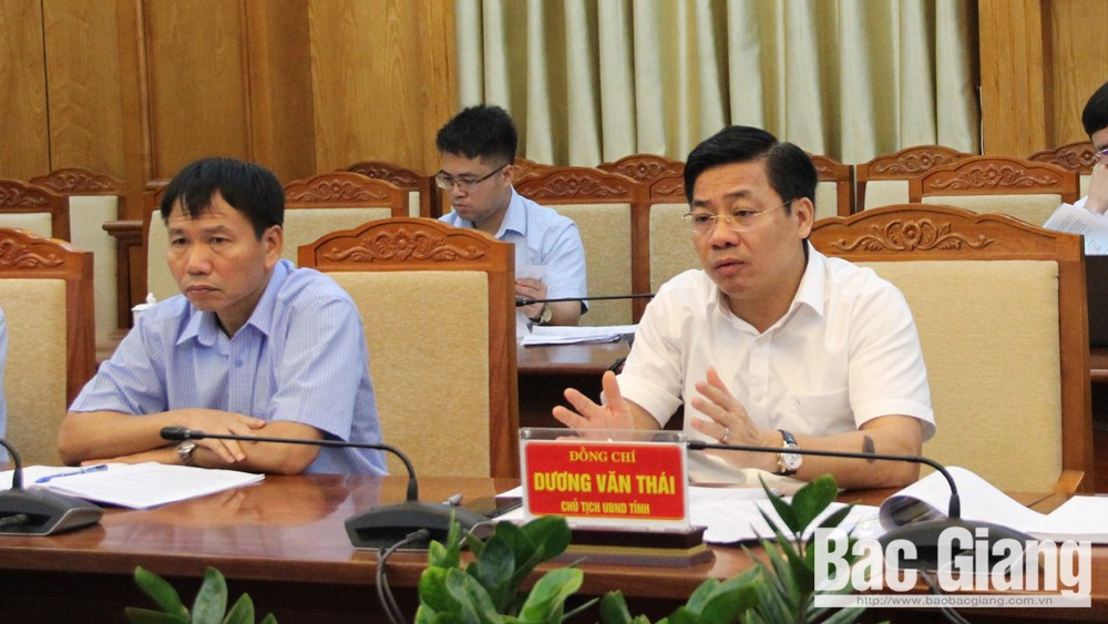 Đồng chí Dương Văn Thái, Chủ tịch UBND tỉnh phát biểu tại buổi làm việc.