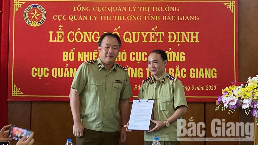 Đồng chí Lê Quang Tú giữ chức Phó Cục trưởng Cục Quản lý thị trường tỉnh Bắc Giang