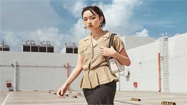 Xuân Lê làm váy áo công sở từ vải đũi