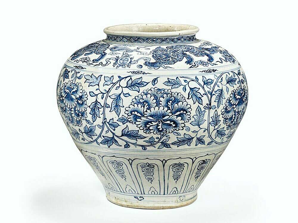 15th century, Vietnam pottery, French auction, 15th century jar, blue peonies, Buddhist iconography, powerful form