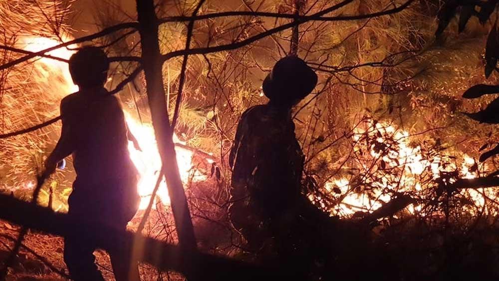 Gần 1.500 người, xuyên đêm, chữa cháy rừng, Nghệ An, bùng phát dữ dội, huy động lực lượng bốn tại chỗ, bị đe dọa nghiêm trọng