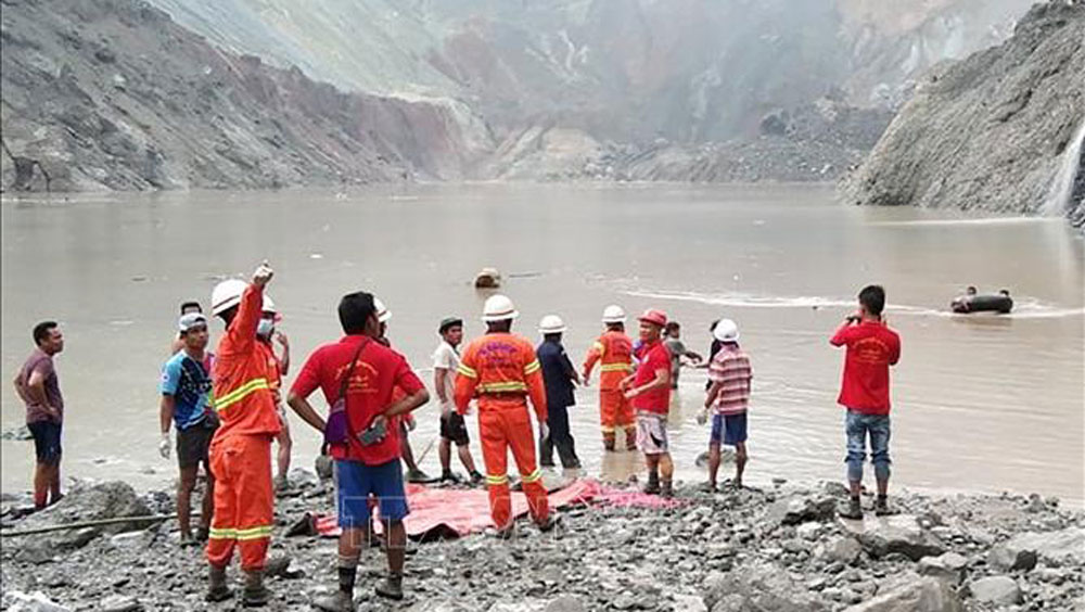 Myanmar,lở đất tại Myanmar,sập mỏ tại Myanmar, sập mỏ bắc giang, mỏ than ở bắc giang
