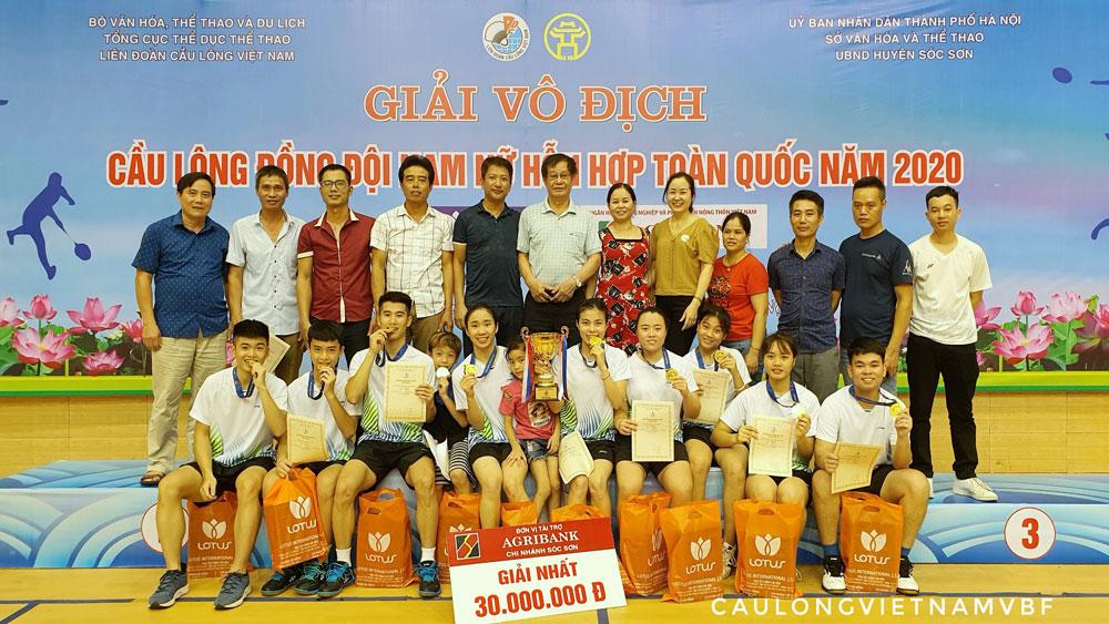 Bắc Giang giành HCV Giải Cầu lông đồng đội nam, nữ hỗn hợp toàn quốc