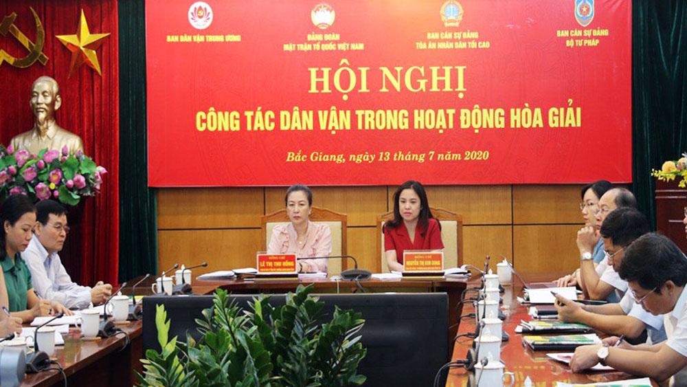 Bắc Giang; hòa giải cơ sở; dân vận; tòa án; tư pháp