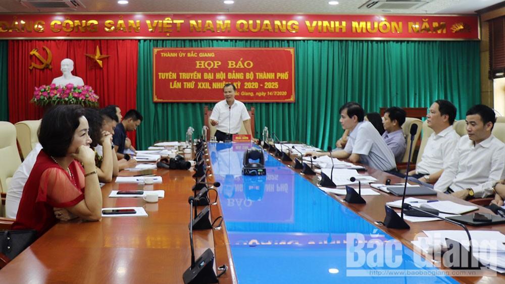 họp báo, tuyên truyền đại hội đảng, TP Bắc Giang, Bắc Giang