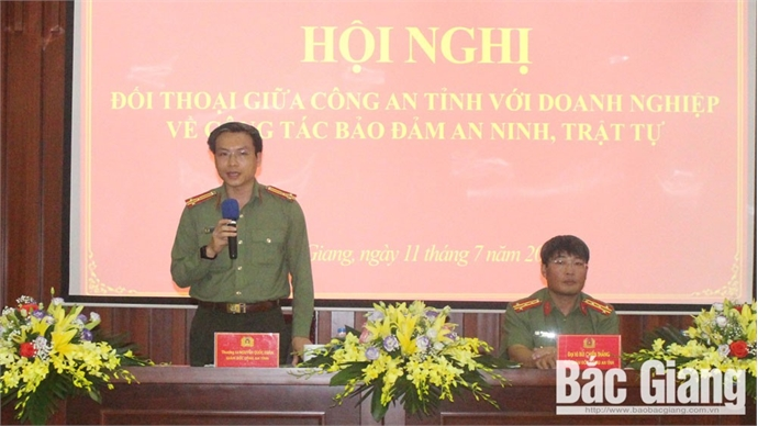 Bac Giang's Public Security Department talks to enterprises: making joint efforts to ensure security, social order