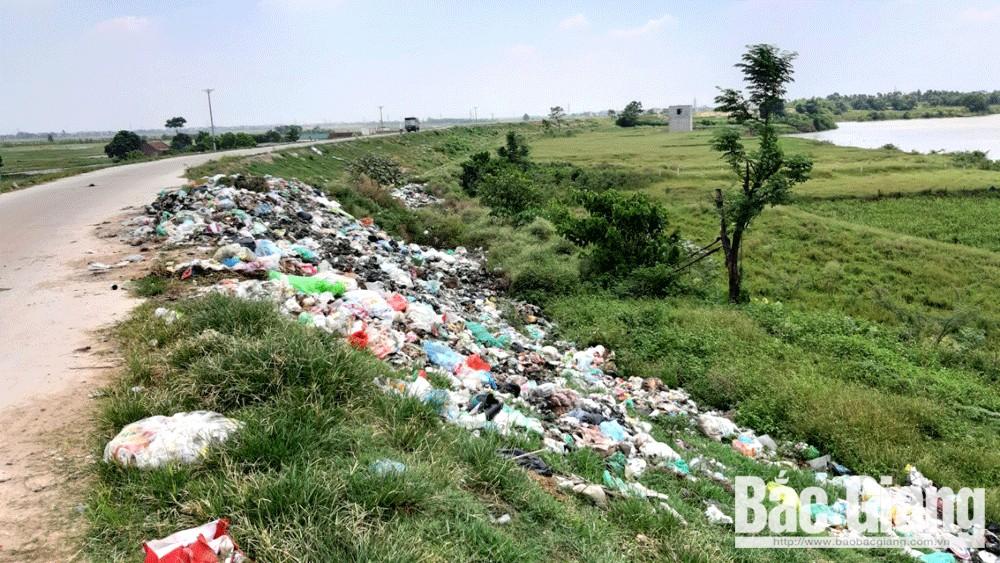 Đê tả Cầu, đoạn qua xã Mai Đình (Hiệp Hòa) có nhiều rác thải sinh hoạt.