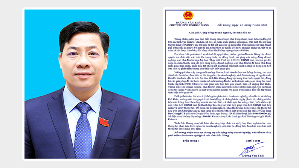 PPC Chairman Duong Van Thai sends open letter to business community, investors