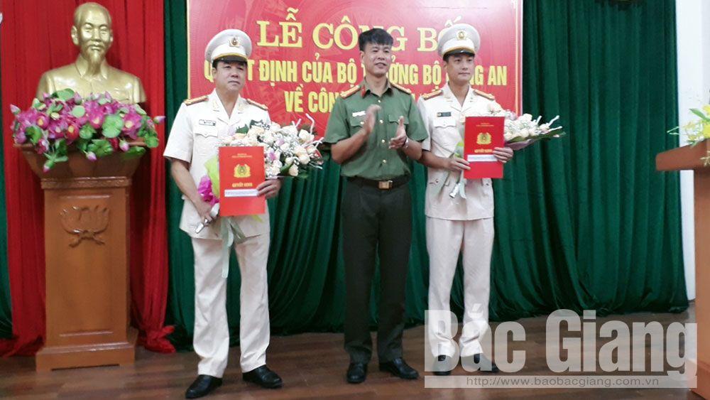 Công an tỉnh Bắc Giang công bố một số quyết định về công tác cán bộ