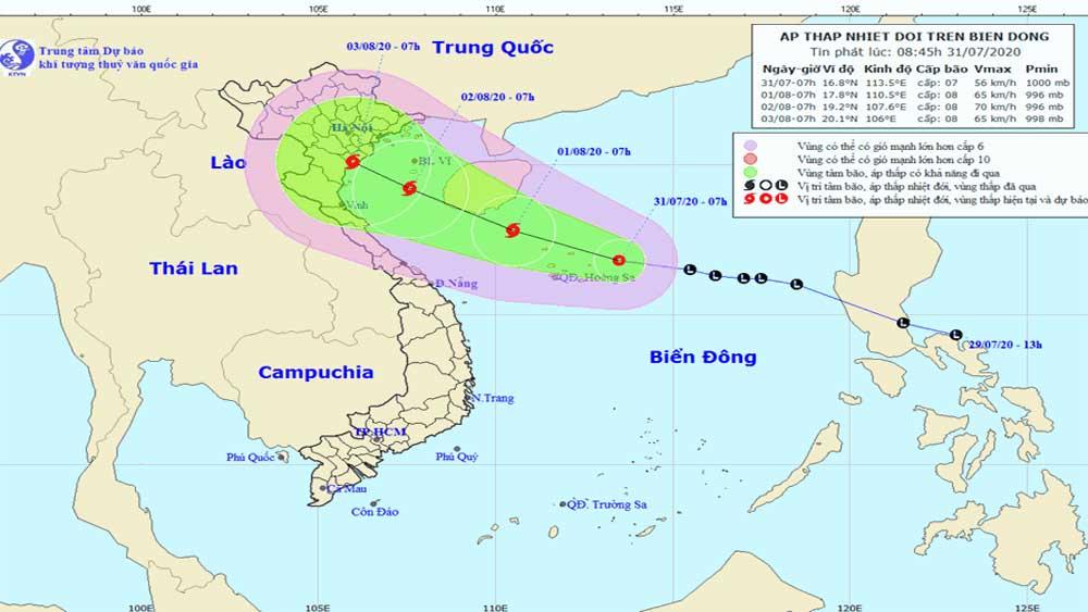Áp thấp nhiệt đới, giật cấp 9, hướng vào đồng bằng Bắc Bộ, Bắc Trung Bộ