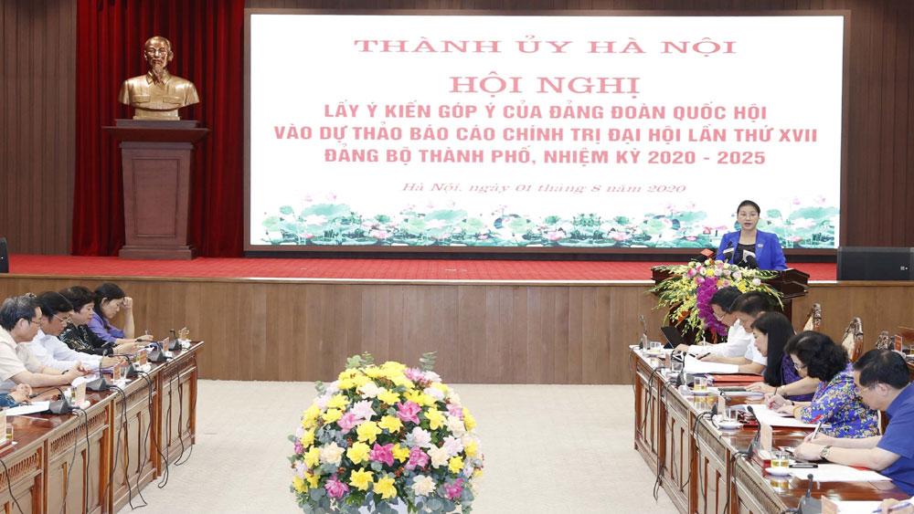 Đảng đoàn Quốc hội, góp ý, Dự thảo Văn kiện Đại hội Đảng bộ TP Hà Nội
