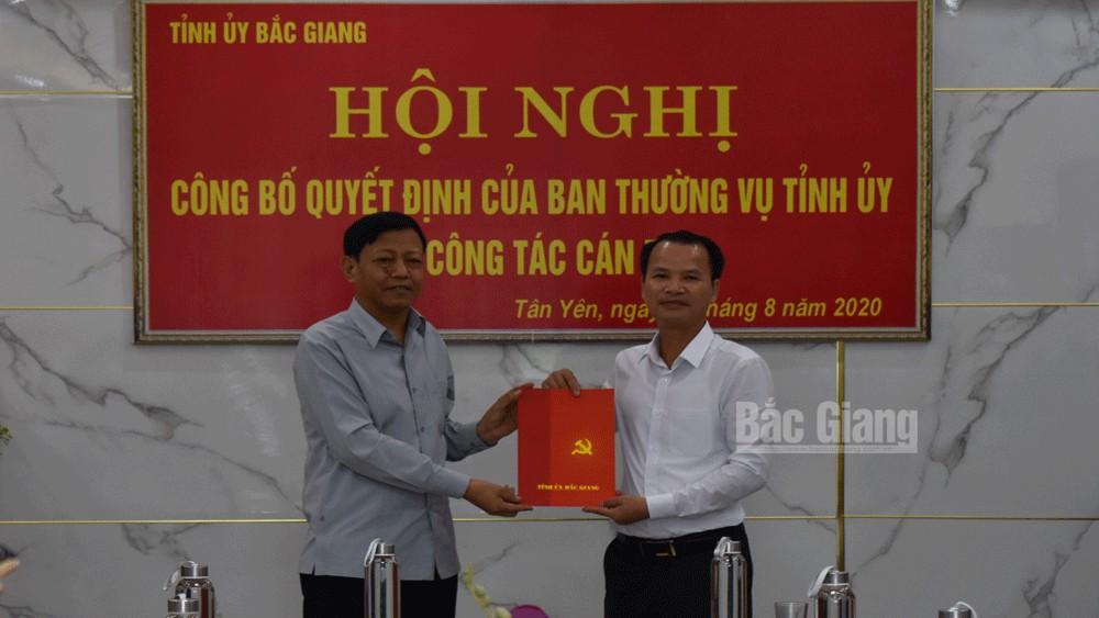 Bắc Giang: Đồng chí Phan Thế Vinh được điều động về làm Phó Bí thư Thường trực Huyện ủy Tân Yên