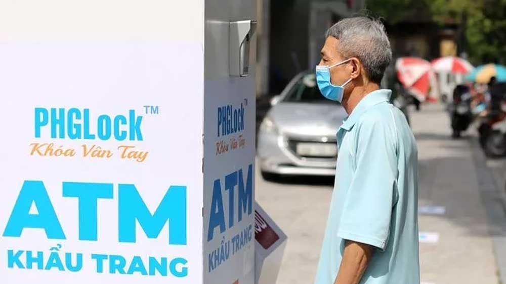 Face mask ATM, Hanoi, special ATM, free face masks, public using smart technology, Covid-19 prevention and control,