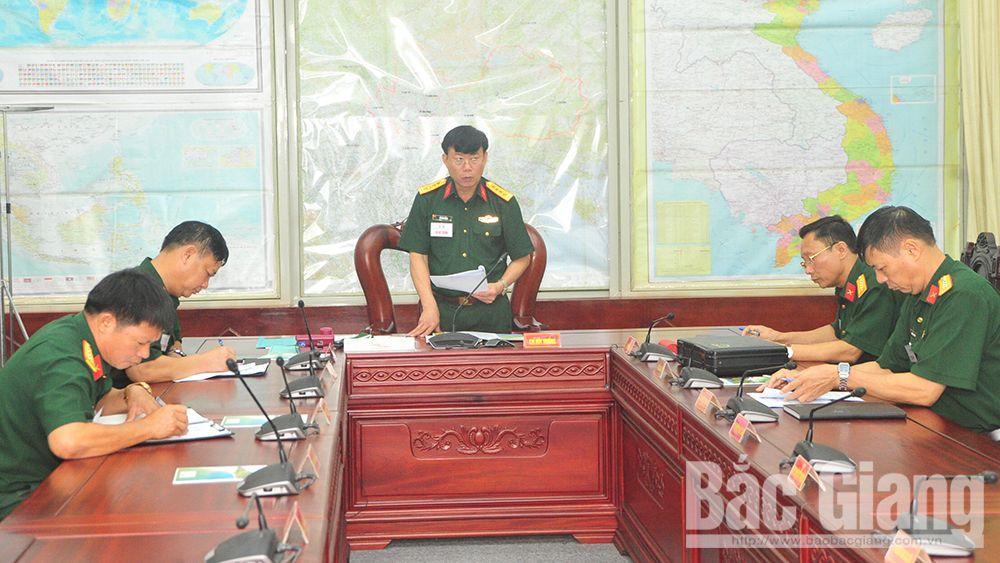 Bộ CHQS tỉnh Bắc Giang: Luyện tập chỉ huy - cơ quan 1 bên, 2 cấp trên bản đồ