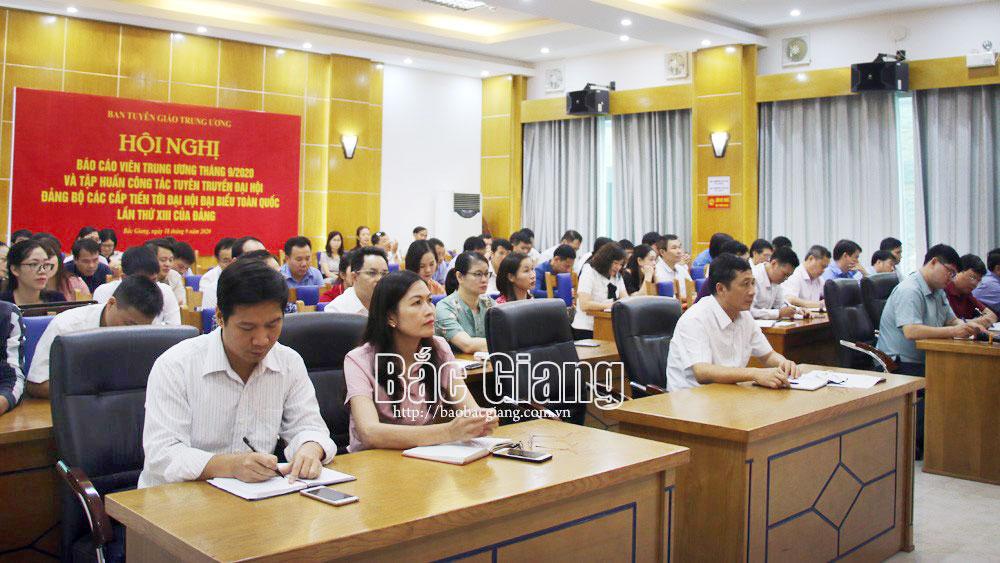 Bắc Giang; Ban tuyên giáo; trực tuyến; T.ư; tuyên truyền miệng; báo cáo viên