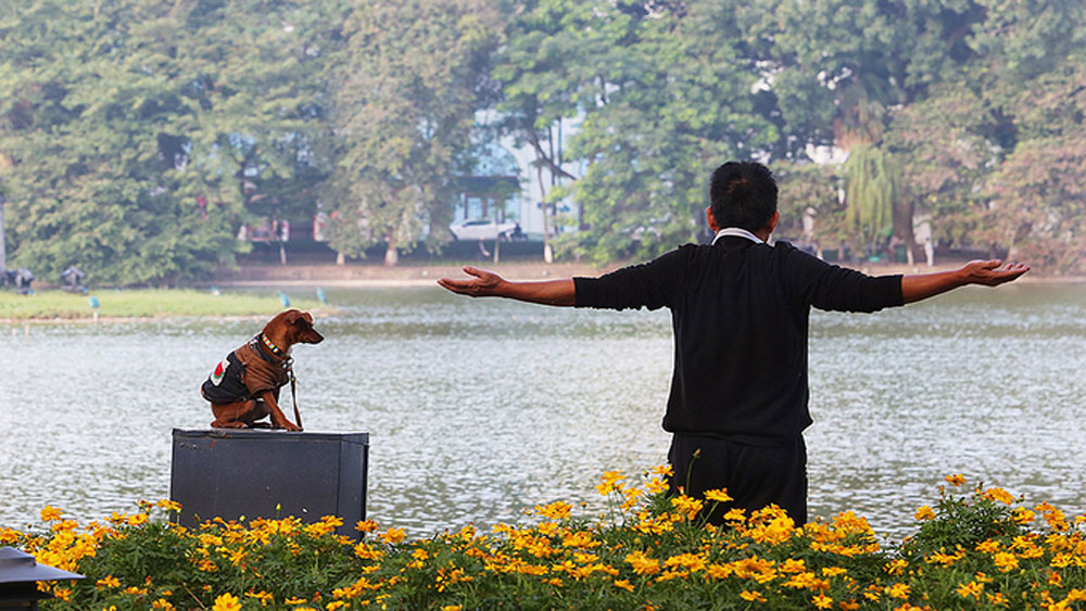 Walking dogs, Hanoi's walking streets, Hoan Kiem Lake, Swimming and fishing, Artistic activities, sporting activities, second Covid-19 outbreak