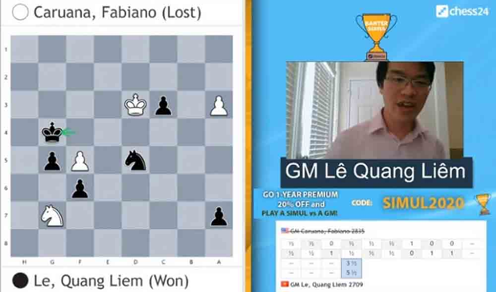 Vietnamese chess ace, beats world no. 2, Banter Series semifinals, Le Quang Liem, world-leading players, overall winner