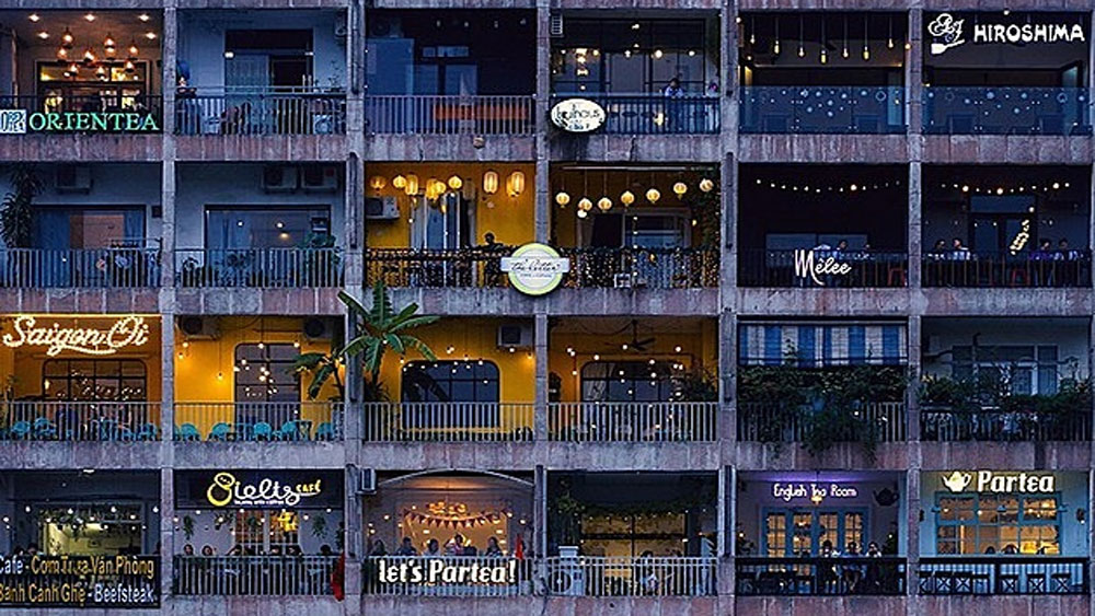 Old Saigon apartment block, National Geographic, shops and cafes, Nguyen Hue Street,  British pay television, beautiful one