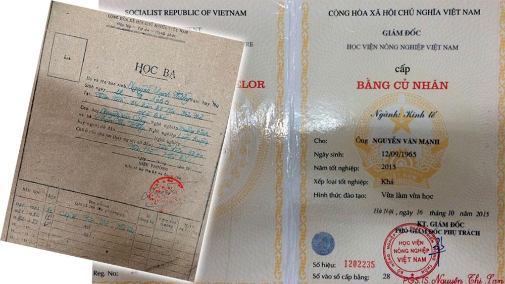 Báo Bắc Giang, Yên Thế, thị trấn Bố Hạ, Nguyễn Văn Mạnh, Chủ tịch UBND thị trấn Bố Hạ, bằng tốt nghiệp