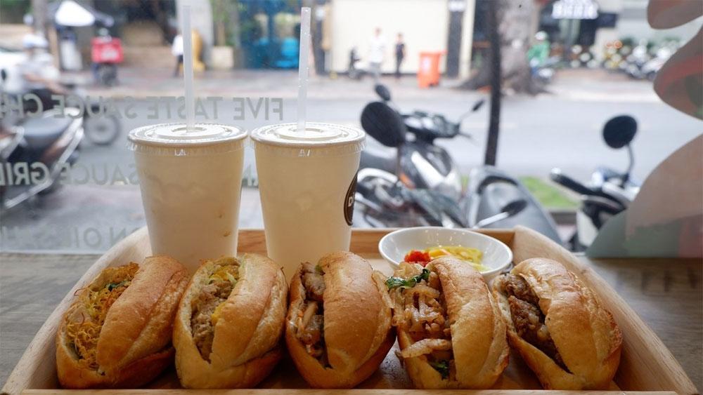 Palm-sized baguette, banh mi scene, world-famous Vietnamese sandwich, variety of different styles, Vietnamese street cuisine