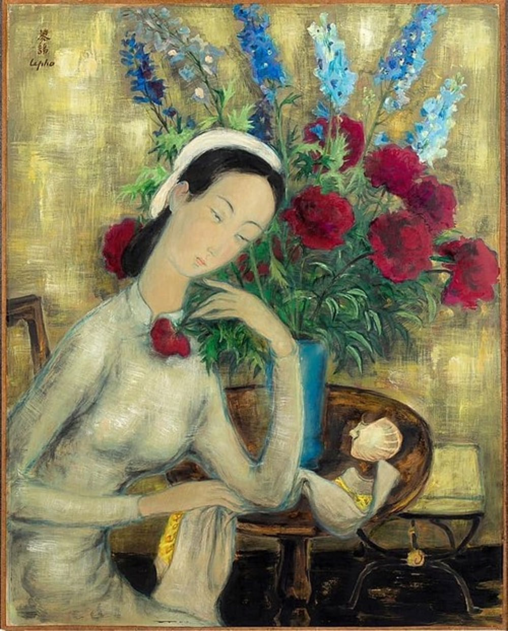 Vietnamese painting, Young Girl With Peonies, Vietnamese artist Le Pho, French auction, exceptional work, long bidding battle