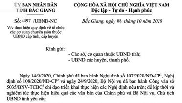 Bắc Giang: Tạm dừng bổ nhiệm để sắp xếp tổ chức bên trong của các cơ quan, đơn vị