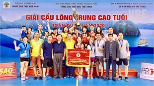 Bac Giang ranks first at National Badminton Championships for the Middle aged and Old Players