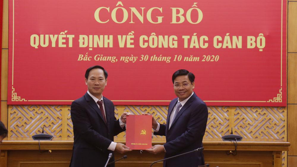 Bắc Giang, Tỉnh ủy Bắc Giang, bổ nhiệm cán bộ, Chánh Văn phòng Tỉnh ủy Bắc Giang, Lê Minh Hoàng