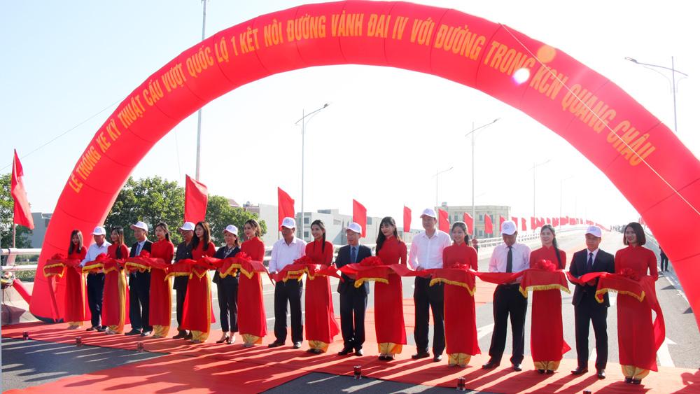 Bắc Giang: Thông xe kỹ thuật cầu vượt quốc lộ 1 kết nối đường vành đai IV với đường trong KCN Quang Châu
