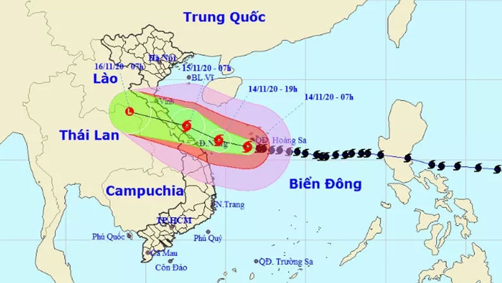 Typhoon Vamco with gusts up to 165km per hour, 390km from Da Nang - Hue coast