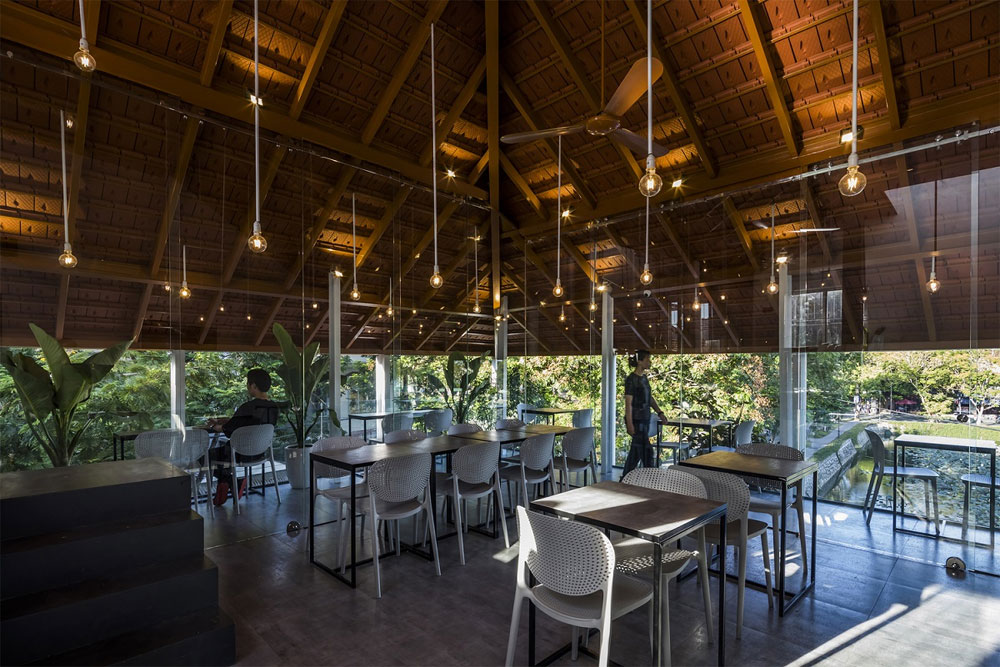 Hue coffee house architects, connect the past with the future, ancient town Hue, feudal and futuristic elements, leading world architecture