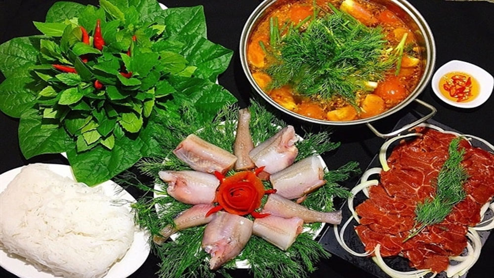 A delightful fish hotpot, Quang Binh province, Lau ca khoai, Bombay duck fish, top 100 outstanding specialities,  sweet and fragrant