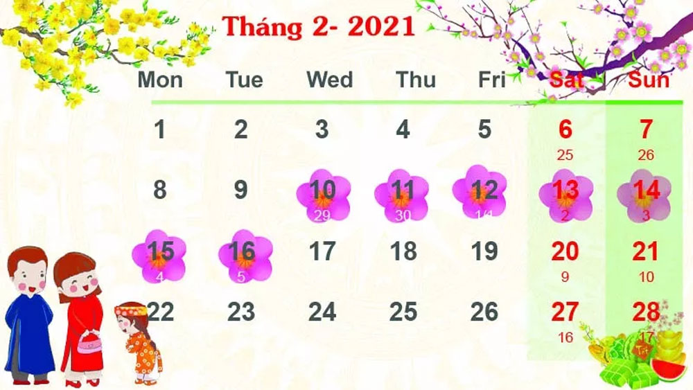 Vietnam, seven-day holiday, Lunar New Year 2021, seven-day break,  National Day, Labour Code, public employees