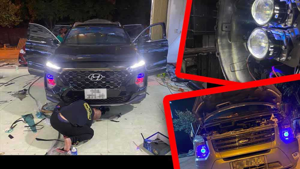 Bắc Giang: Công khai quảng cáo lắp đèn led chiếu sáng cho ô tô