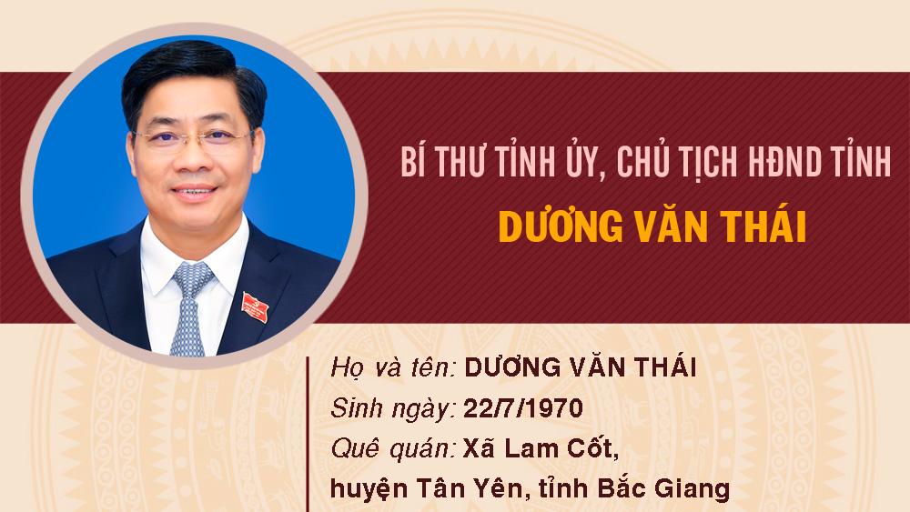 Chân dung đồng chí Dương Văn Thái, Bí thư Tỉnh ủy, Chủ tịch HĐND tỉnh