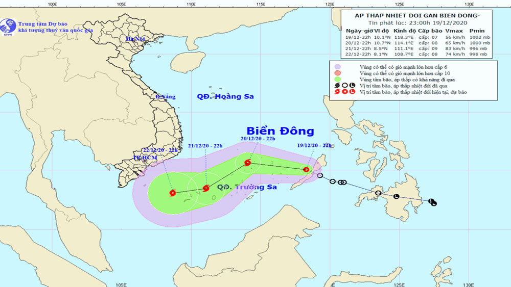 Tropical depression, storm off southern Vietnam,