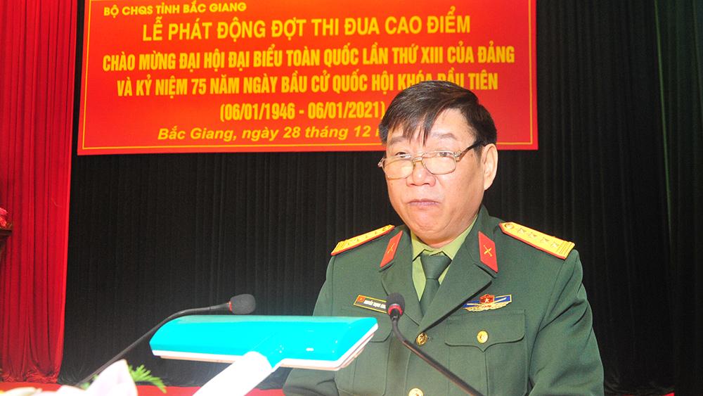 """Bộ CHQS tỉnh Bắc Giang thi đua cao điểm """"Lập công dâng Đảng"""""""
