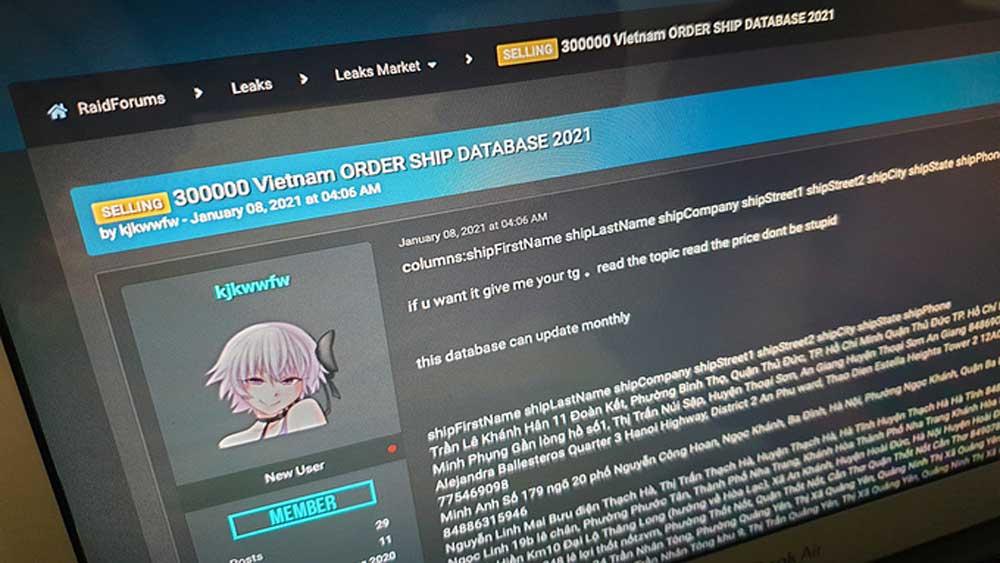 Personal data , 300,000 Vietnamese, cyberhacking forum
