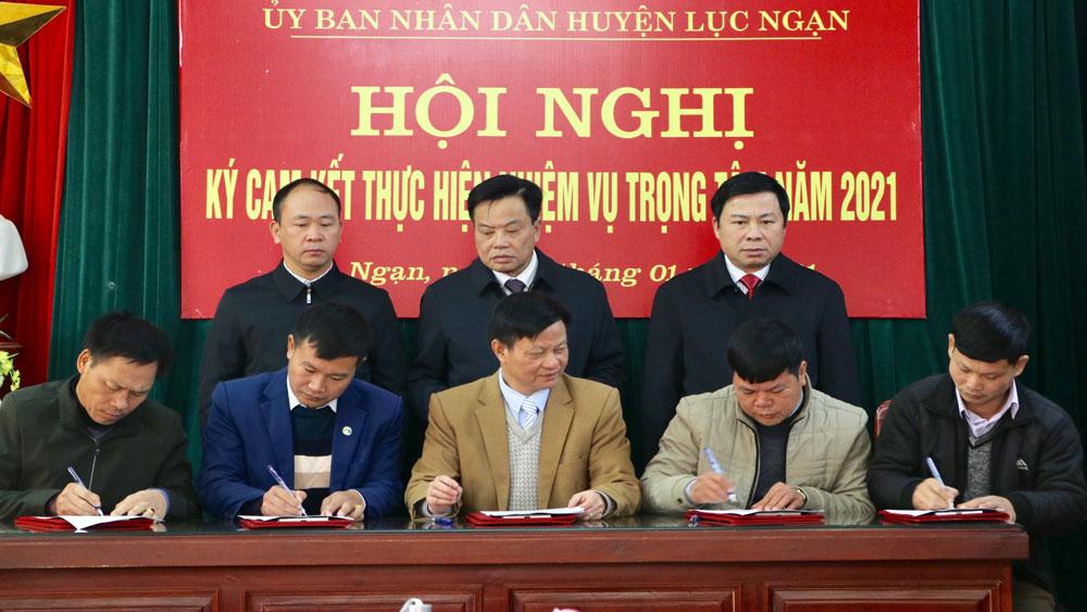 Lục Ngạn: Thủ trưởng các đơn vị, địa phương đăng ký nhiệm vụ trọng tâm với Chủ tịch UBND huyện